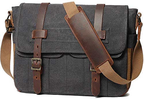 Messenger Bag for Men 15.6 Inch Rugged Waxed Canvas Laptop Bag Waterproof Genuine Leather Briefcase Satchel Bags for Men Large Work Computer Bag, Grey