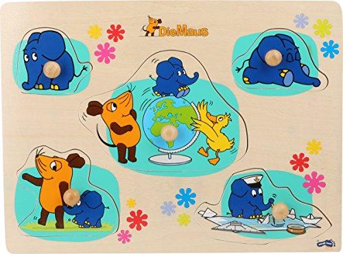Small Foot 10493 Sendung Setzpuzzle aus Holz Motiven fünf Verschiedene Puzzleteile mit Maus, Elefant und Ente, geeignet für Kinder ab 1 Jahr