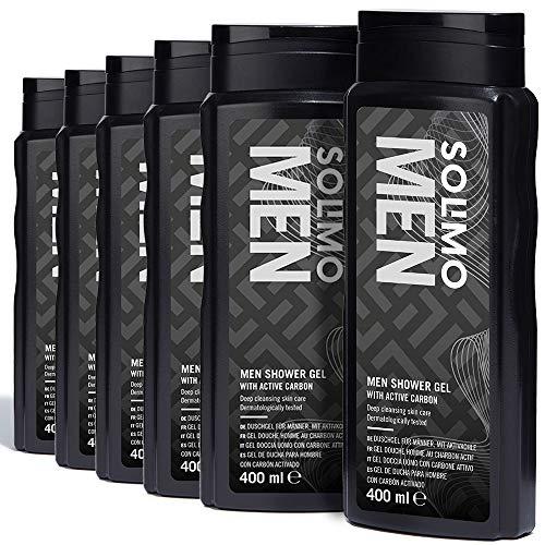 Amazon-Marke: Solimo Duschgel für Männer mit Aktivkohle- 6er-Pack (6 Flaschen x 400 ml)