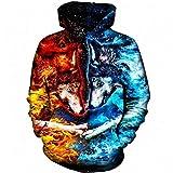 Sudadera con capucha impresa en 3D, diseño de animal de lobo, con capucha para...