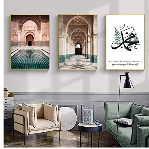 Marokkaanse boog canvas schilderij islamitisch citaat muurkunst poster Hassan Moskee Sabr Bismillah druk Allah moslim decor afbeelding 50x70cmx3 niet ingelijst