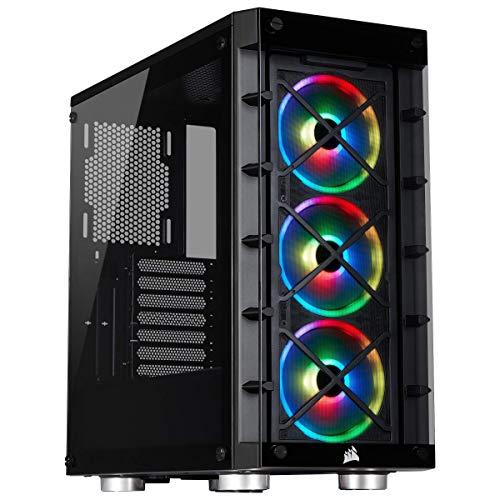 Corsair iCUE 465X RGB Mid-Tower ATX Smartes Gehäuse (Seiten und Frontscheibe aus gehärtetem Glas, 3 integrierte LL120 RGB Lüfter, vielseitige Kühloptionen) schwarz