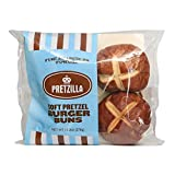 """Each Pretzilla Burger Bun is approximately 4"""" in diameter and weighs 3.3 oz. Without fear, it can hold up to a ½ pound of your favorite fillings!"""