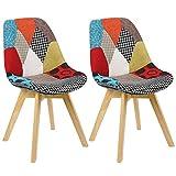 N/A Set di 2 sedie da pranzo imbottite patchwork retrò, sala da pranzo, cucina, camera da letto, sedia da ufficio (con gambe in legno di faggio) Rosso