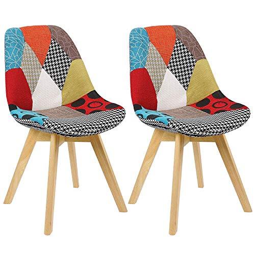 N/A Juego de 2 sillas de comedor, tapizado patchwork, silla retro, comedor, cocina, dormitorio, silla de oficina (con patas de madera de haya)