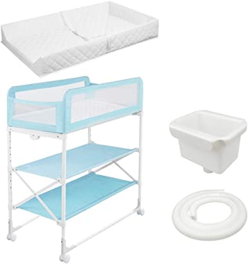 LXF Large Baby Changing Table for Girl Boy - Nursery Mobile Newborn Infant Toddler Dresser Station - 0-3 Years Old (Color : B