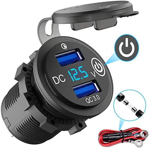 Quick Charge 3 0 USB Outlet 12V with Switch Dual USB Car Charger Power Socket Waterproof Marine product image