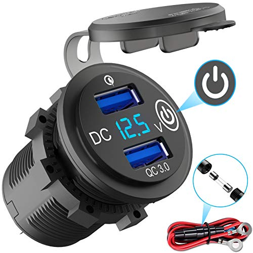 Quick Charge 3.0 USB Outlet 12V with Switch, Dual USB Car Charger Power Socket Waterproof Marine Cigarette Lighter Adapter 36W QC 3.0 Fast Charge with LED Voltmeter for Boat Motorcycle RV ATV etc