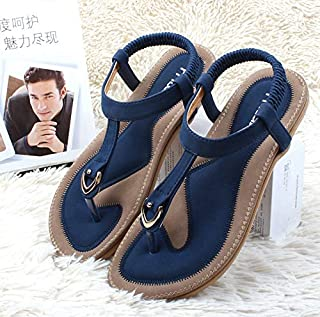 Fashion New Summer Women Shoes Casual Leather Sandals Flat Single Shoes Soft Slippers Sandals Plus Size 35-42(Light Blue,4.5)