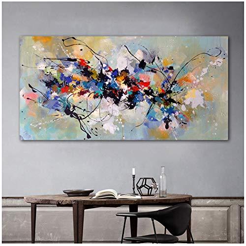 Pinturas sobre lienzo Arte de la pared Cuadros abstractos para sala de estar Dormitorio Moderno hogar Pintura decorativa 70x140cm Sin marco Colorido