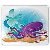 Alfombrilla de ratón Marina Pulpo sobre Fondo Marino Subacuático con arrecifes de Coral Acuario Imprimir Alfombrilla de Goma Antideslizante Alfombrilla de Cielo