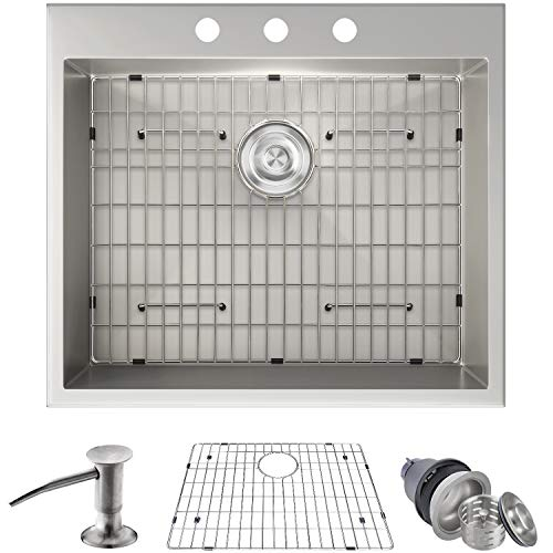 MOWA HTS2522 25' x 22' Handmade 16 Gauge Stainless Steel Top Mount Drop In Single Bowl Kitchen Sink w/Soap Dispenser, Sink Grid & Drain Strainer, 10-Inch Deep Laundry Utility Sink, Fits 27' Cabinet