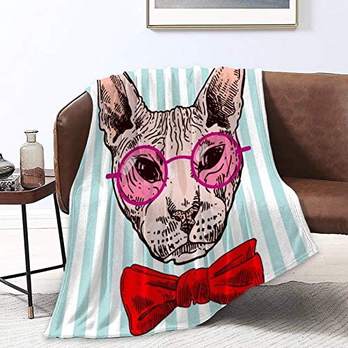 Extra Soft Sherpa Flannel Fleece Throw Blankets Wrap Sheet for Lounge Couch Reading Watching TV, Oversized Wearable Blanket Cloak - Funny Glasses Hairless Sphynx Cats Red Bow Tie Blue White Stripes