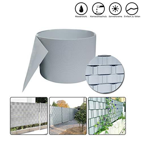 HENGMEI 10 Stück Sichtschutzstreifen Hart PVC 19cm x 2.5m Sichtschutz Zaunfolie Blickdicht für Gartenzaun, Balkon, Hellgrau