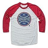 500 LEVEL Max Scherzer Tee Shirt (Baseball Tee, Small, Red/Ash) - Max Scherzer Ball B