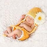 Unbekannt Baby Häkelkostüm Strick Kostüm Fotoshooting Baby Fotos Frühling Blume Gelb