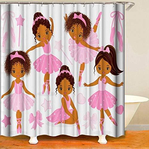 None brand Mädchen Duschvorhang Glamour Kleider mit Mode & Make-up Design Stoff Wasserdicht Prinzessin Duschvorhang -180 cm x 200 cm