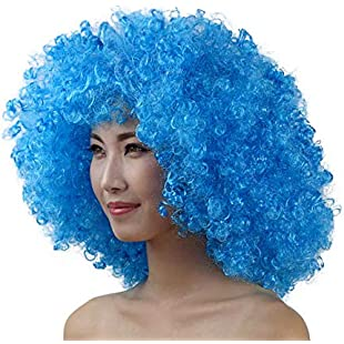 90S Unisex Colored Afro Wig Festival Party Fluffy Curly Wig Disco Costume Wig:Examen17result