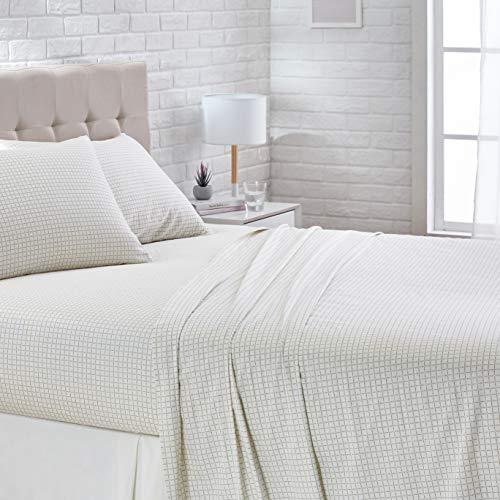 AmazonBasics SuperSoft Cotton Bed Sheet Set  King Grey Grid
