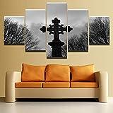 Lienzo HD Impresiones Pinturas Arte de la pared Decoración del hogar Marco de la habitación 5 Piezas Cruz religiosa Cartel gótico celta Imágenes abstractas