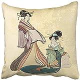 Leisure-Time Fundas de cojín Geisha Tradicional Japón Antiguo Estilo de Mujer Japonesa clásica Dibujo Hermoso