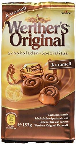 Werther's Original Karamelll – (7 x 153g Beutel) – Zartschmelzende Süßigkeiten-Spezialität aus Schokolade mit einem Herz aus cremigem Karamel
