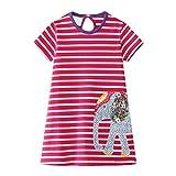 Robe Fille Éléphant Imprimé Tunique Rose Rouge Blanche Rayure Coton Manche Courte Animal Motif Broderie Casual Ete Enfant T-Shirt Vêtements Fille 1-8 Ans