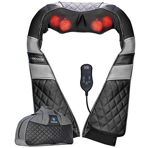 MOVEON Nackenmassagegerät mit Wärme, Elektrisch Shiatsu Schulter Rückenmassagegerät mit Fernbedienung, 3D-Rotation Nacken Massagegerät zu Hause Büro und Auto, Muskelschmerzen Linderung