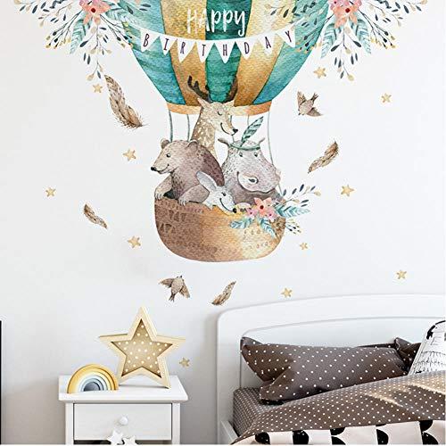 Animales de dibujos animados globo de aire caliente pegatinas de pared para niños decoración de la pared de jardín de infantes calcomanías de vinilo extraíbles decoración del hogar 30x90cm