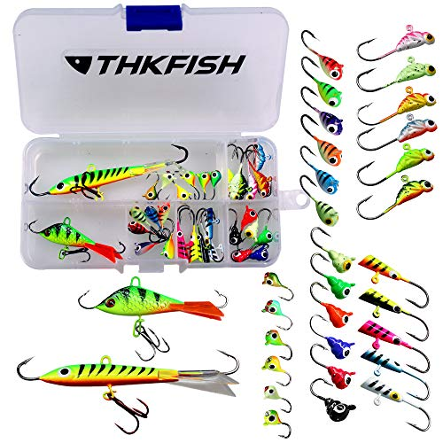 thkfish 31Pcs/Box Ice Fishing Jigs Head Lure Hard Baits with Single Treble Hooks Kit for Winter Fishing Jigging for Bass Walleye Panfish