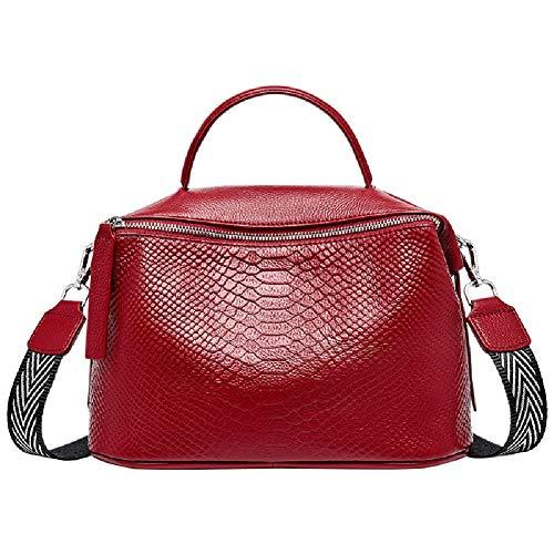 Valin Bolso de mano de mujer de piel, estilo casual, estampado de cocodrilo, suave, bolso de la compra, bolso bandolera con correa, 29 x 13 x 18 cm, color Rojo, talla One size