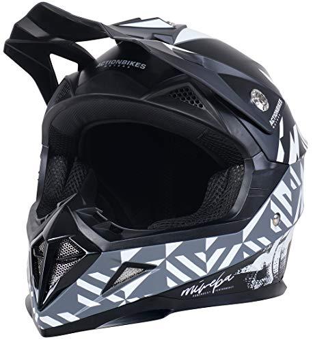 Actionbikes Motors Kinder Cross Helm Hornet ECE 22/05 Norm - Straßenzulassung - Motocross - Crosshelm - Downhill - Fullface (Schwarz, L)