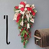 BESTINE Adorno Navideño Swag, 60cm Adorno árbol Navidad Al Revés con Perchas Cinta Campana Bayas Rojas Diseño Lazo Cono Pino para Decoraciones Puerta Navidad para Colgar en La Pared