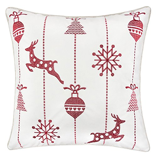 Homey COZY Embroidery White Velvet Throw Pillow Cover, Merry Christmas Series Snow Reindeer Luxury Soft Fuzzy Cozy Warm Slik Gift Square Couch Cushion Pillow Case 20 x 20 Inch, Cover Only -  Kingray, 71067