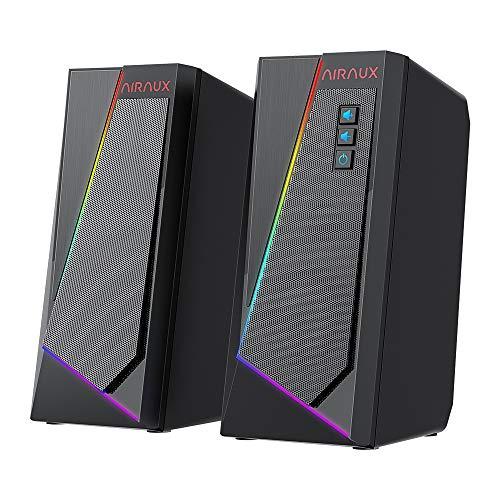 PC Lautsprecher, AirAux USB RGB Computer Lautsprecher Stereolautsprecher Gaming...