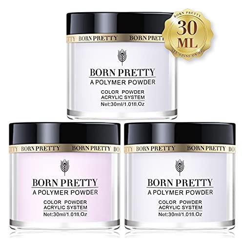 BORN PRETTY Acrilico in Polvere per Unghie, Acrylic Nails Set Powder of 3 Colori Rosa Bianco Trasparente Professionale Acrilico Polvere Unghie