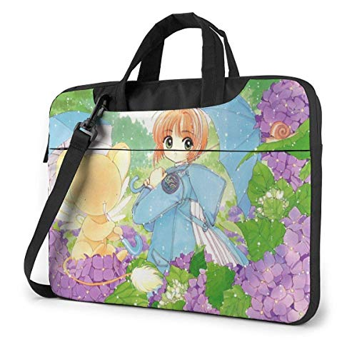 XCNGG Anime Cardcaptor Sakura Stylish Customized Laptop Shoulder Bag, Suitable for 13-15.6 inch MacBook Pro/Air and Most Other Laptops, Portable Laptop Bags, Briefcase Protective Covers