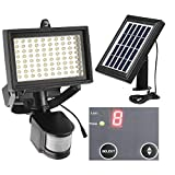 Solar Security Light 80Leds Outdoor Solar Motion Sensor Light Waterproof Solar PIR Wall Light Indoor Flood Lighting Solar Powered with Li Battery for Front Door Patio Deck Pathway (Natural White)