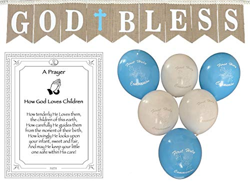 God Bless Laced Burlap Banner for Boys First Holy Communion, Christening, Baptism Banner, Catholic Decorations - Reusable 8X6 Banner with White Letters and Blue Cross with 6 Balloons