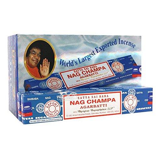 Satya Sai Baba Nag Champa Agarbatti wierook stokken (doos van 12 pakjes)