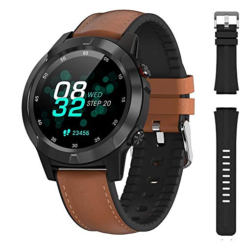 Sports Watch for Men GPS Smart Watch for Android and iOS Phones smartwatch with Leather Strap,Heart Rate Pedometer 1.3 Inch IPS Round Touch Screen, IP67 Waterproof Bluetooth Black