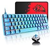 Blue 60% True Mechanical Gaming Keyboard 20 RGB Chroma Backlit Glowing Characters Type C Wired 62 Keys Game Keyboard Waterproof Full Anti-ghosting and Gaming Mouse Pad for Gamers and Typists