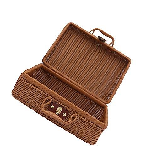 Vipithy 1 confezione di valigie vintage stile pic-nic cestino di immagazzinaggio cestino di vimini intrecciato