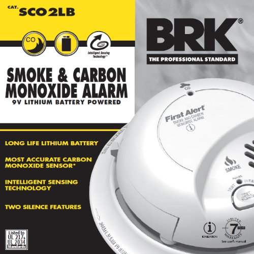 First Alert BRK SCO2LB Smoke and Carbon Monoxide (CO) Detector with 9V Lithium Battery