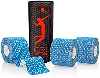 """Best FlexU Kinesiology Tape; Super Saver Pre-Cut I Shape Strips (60 Strips of 2""""X10""""); Hypoallergenic; Therapeutic Recovery Sports Tape Review"""