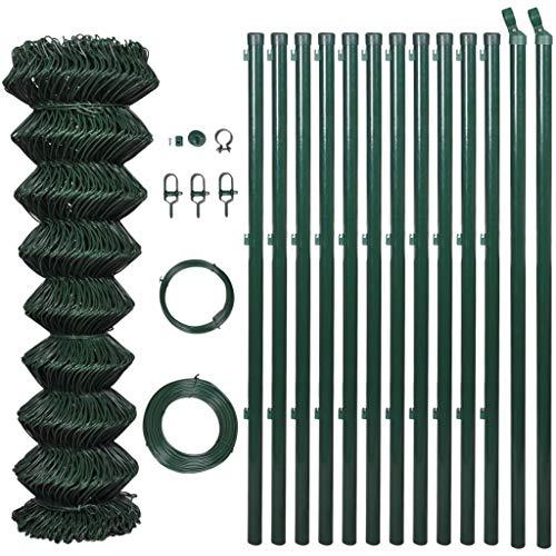 vidaXL Grillage Vert 1,25x25 m Poteaux Accessoires Terrasse Clôture de Jardin