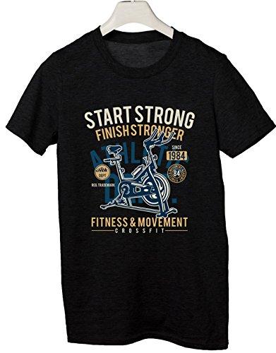 Tshirt Start Trong Finish Stronger - Fitness e Movimento - Cyclette - Idea Regalo - in Cotone