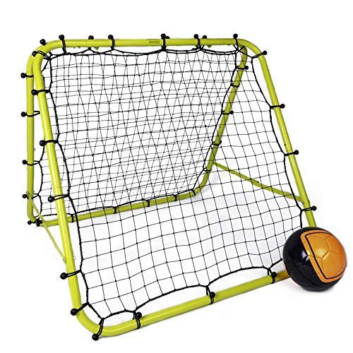 Football Master ™ Fluoreszierendes grünes doppelseitiges Rückprall-Trainingshilfe, Zielfußballtor, Kickback, verstellbares Übungsnetz für Torwart-Coaching-Rückprallnetz