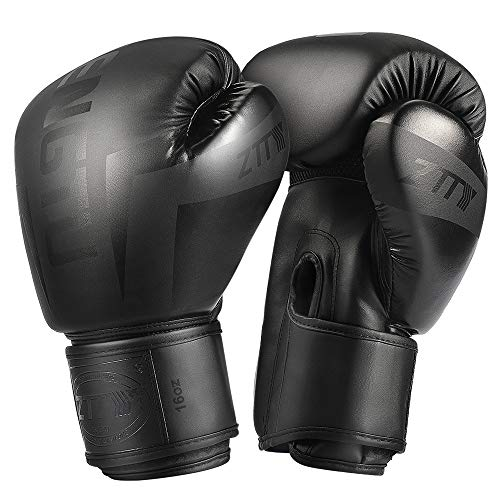 ZTTY Boxing Gloves PU Leather Kickboxing Muay Thai Punching Bag Mitts MMA Pro Grade Sparring Training Fight Gloves for Men & Women