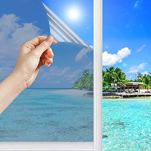 d.Stil Film Miroir Fenêtre sans Tain Film Adhésif réfléchissant pour Fenêtre Anti-UV Anti Regard Anti Chaleur Protection de La Vie Privée pour Fenêtre Maison Bureau Salle de Bain (Argent, 40×200 cm)
